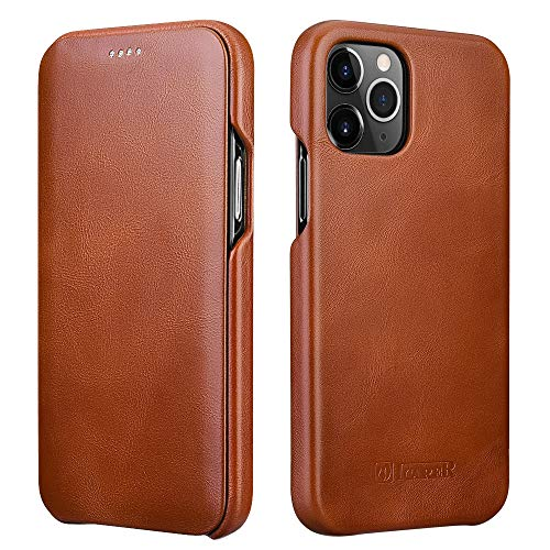 ICARER Compatible with iPhone 12 Pro Max Leather Case,Genuine Leather Flip Folio Opening Cover in Curved Edge Design, Slim Thin Side Open Case Compatible for iPhone 12 Pro Max 6.7 Inch (Brown)