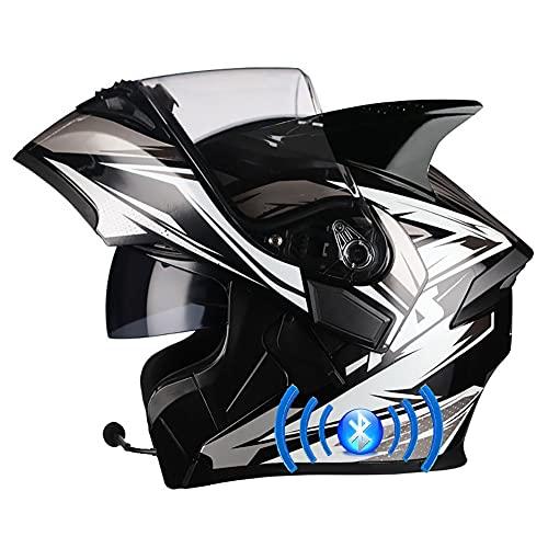 Letetexi Casco de Moto Bluetooth Integrado Flip Up Casco Moto Integral Modular Casco con Doble Visera Casco Motocross Motocicleta Casco Scooter Certificación ECE para Hombre y Mujer 57~66cm