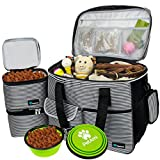 PetAmi Dog Travel Bag   Airline Approved Tote Organizer with Multi-Function Pockets, Food Container Bag and Collapsible Bowl   Perfect Weekend Pet Travel Set for Dog, Cat (Stripe Black, Large)