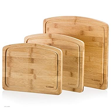 Bamboo Cutting Board Set Of 3 | For Kitchen Thick , Anti-Bacterial & Anti-Microbial Wooden Board With Juice Groove | For Dicing, Slicing & Serving Cheese, Meat, Veggies, Fruit, Bread , By Clasier