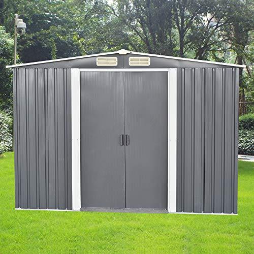 Outdoor Backyard Metal Garden Utility Storage Shed Metal Garden Shed Heavy 8 X 6 Outdoor Apex Roof 2 Door Duty Tool House W/Sliding Door (Gray)