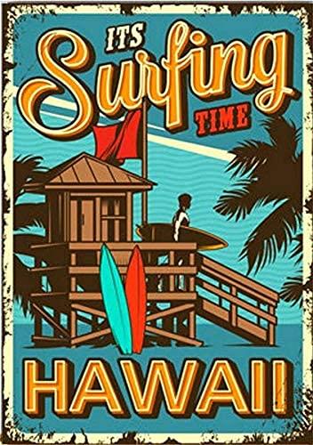 Mulrcks Cartel de metal retro de Surfing Paradise Hawaii Surfer Surf Club Vintage Decoración de pared para el hogar, oficina, bar, garaje, cafetería, hotel, cueva de los hombres, 20 x 30 cm