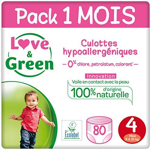 petit un compact Couches Love & Green, taille 4 (8-15 kg) – Paquet de 1 mois (80 couches)
