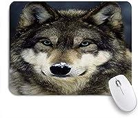 MISCERY マウスパッド 鼻をテーマにしたかわいい灰色オオカミの雪 高級感 おしゃれ 防水 端ステッチ 耐久性が良い 滑らかな表面 滑り止めゴム底 24cmx20cm