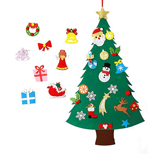 MeeQee 3ft DIY Felt Christmas Tree Set + 28pcs Glitter Coated Ornaments, Wall Hanging Xmas Gifts for Kids Christmas Decorations