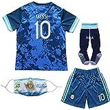 BIRDBOX 2021 Argentina Away Dark Blue #10 Lionel Messi Kids Soccer Jersey & Shorts Set Youth Sizes (Dark Blue, 26 (8-9 Years))
