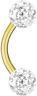 Piercing Banana Titanio Dorado, Bolas Multi Cristales, Blanca, 1,2 mm | 6-12 mm