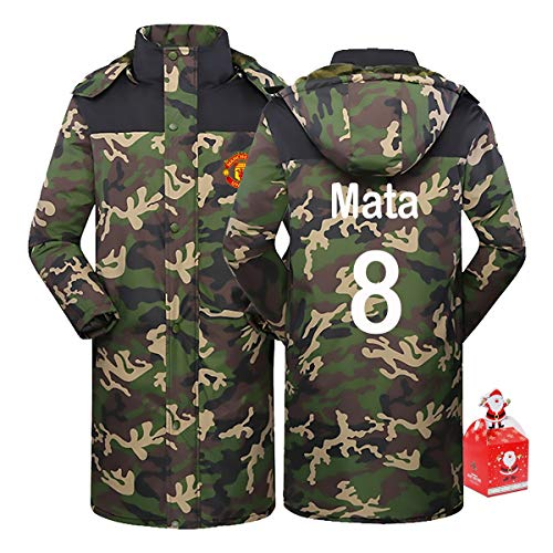 Manchester City Juan Mata 8# Men's Thickened Mid-Length Cotton Coat Thick Camouflage Warm Hoodie,Couple Clothes Winter Youth Gift (Color : A, Size : XX-Large)