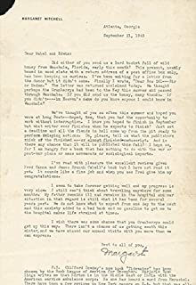 Margaret Mitchell - Typed Letter Signed 09/21/1943