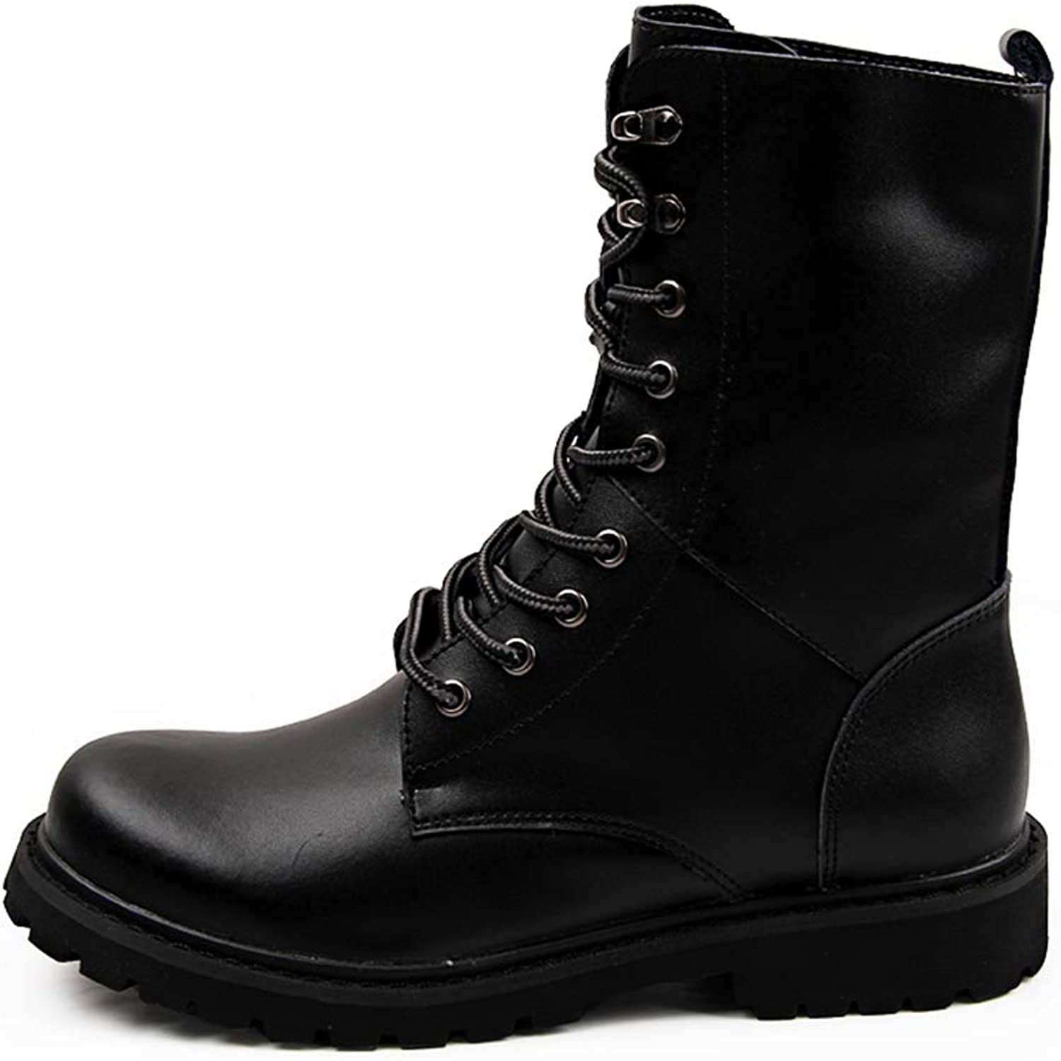 BND-SHOES ,Men's Premium Leather Retro Boots Waterproof Keep Feet Dry Adding Cotton Suitable for Winter Durable,Stand Wear and Tear (color   Cotton Black, Size   9.5 UK)
