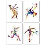 KAIRNE 4er Set Aquarell Fußball Poster, Kunstdruck fürs Schlafzimmer, Fußball Bilder Leinwand,...
