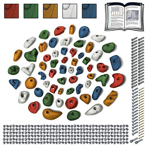 ALPIDEX Starterset: 60 Klettergriffe Klettersteine inkl. Schrauben und Einschlagmuttern, Farbe:Mixed Coloured
