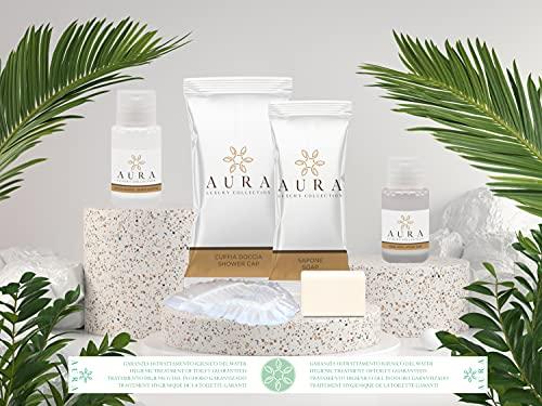 Aura Luxury Collection® Kit cortesia bagno da 400 pezzi composto da 100 flaconi shampoo doccia 20 ml, 100 flaconi igiene intima, 100 saponette 12 gr, 100 cuffie + OMAGGIO 500 fasce garanzia igiene WC