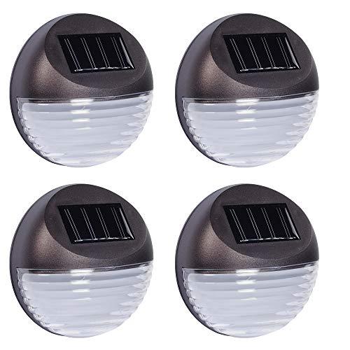 HI 4 x LED Strahler Leuchte Zaunbeleuchtung Solar Lampe Wandleuchte Außenleuchte