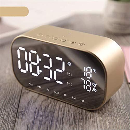 FENGCLOCK Dígito LED Espejo Inalámbrico FM Relio Reloj, Bluetooth Dual Speaker Metal Music Player Reloj De Alarma Espejo De La Cama Superficie Multifunción Alarma Reloj De Alarma,Oro