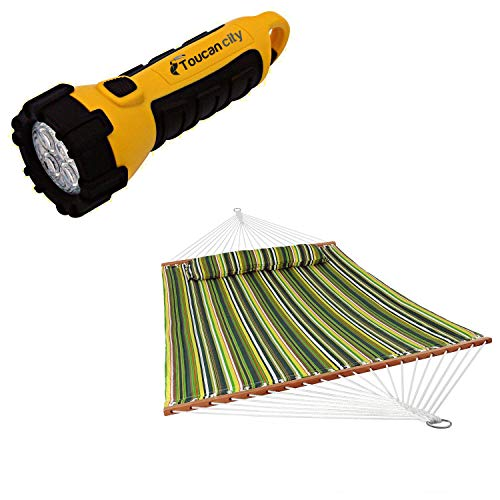 Toucan City LED Flashlight and Decor 11-3/4 ft. Quilted Double Fabric 2-Person Hammock in Melon Stripe LY-QFH-MS