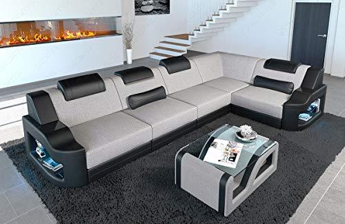 Sofa Dreams Stoff Eckcouch Padua modern mit LED Beleuchtung und verstellbare Kopfstützen
