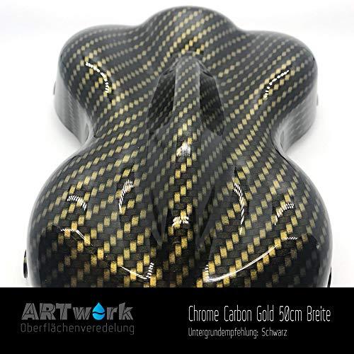 Wassertransferdruck Folie ARTwork Chrome Carbon Gold 50cm Breite