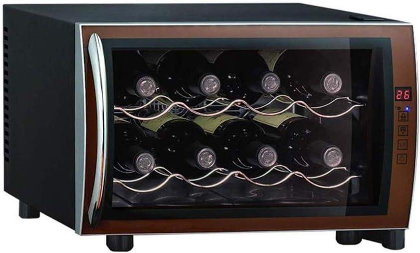 YFGQBCP Independiente Pequeño gabinete del Vino, Vino refrigerador hasta por 8 Botellas, 11-18 ° C, Puerta de Vidrio gabinete del Vino