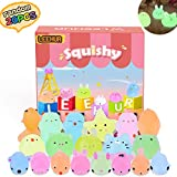 LEEHUR 20 Pcs Squishy Toys, Mixed Mini Soft Squeeze Brillent dans Les Mochi Squishy Soft Cat guérison Fun Toys Enfants Jouet Stress Relief Jouets