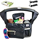 KooKiddos Baby Stroller Organizer with Insulated Stroller Cup Holder, Baby Organizer and Storage Diaper Bag Organizers for Stroller Accessories, Fits Uppababy, Doona, Britax, Baby Jogger, Bugaboo, BOB
