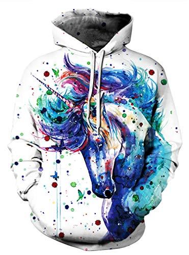 AMOMA Unisex Realistic 3D Digital Print Pullover Hoodie Hooded Sweatshirt(Small/Medium,ColorUnicorn)