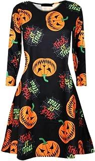 Halloween Ladies Women Round Neck Horror Smock Scary Cat Face Swing Mini Dress