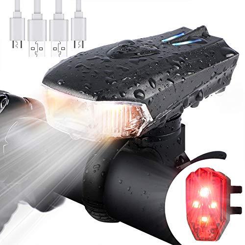 WOSTOO Luci Bicicletta LED, Luci per Bicicletta USB con 5 modalità Luce, Batteria al Litio 1200 mAh LED di Lumen Impermeabile con Il Faro Posteriore per Bici Strada e Montagna- Sicurezza per Notte