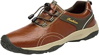iYBUIA Men Hiking Leather Shoes Waterproof Non-Slip Leisure Sports Shoes Travel Climbing Shoelace Shoes (Size:Us7.5-Us11)
