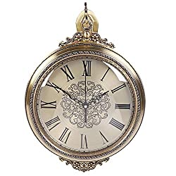 Zouminy Wall Clock, Household Vintage Wall Clock European Style Mute Double Sided Clock Home Decoration