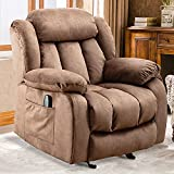INZOY Massage Rocker Recliner with Heat and Vibration Manual Reclining Chair Rocking Chair Soft Fabric Lounge Chair Overstuffed Sofa Home Theater Seating, Camel