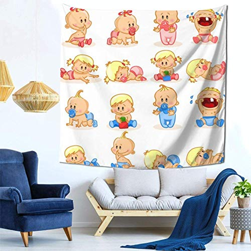 Lsjuee Cute Baby Boys and Baby Girls Tapestry Wall Hanging Home Decor Fan Art per Camera da letto Soggiorno Dormitorio