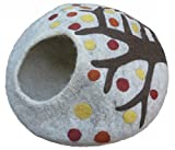 Earthtone Solutions Cat Cave Bed, Unique Handmade Felted Merino Wool, Large Covered and Cozy, Also Perfect for...