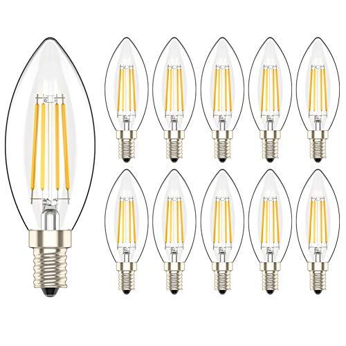 10 Pezzi 4W E14 Dimmerabile Lampadina Filamento Luce Calda LED Bianco Caldo 2700K Lampadine Candela Equivalenti a 40W Incandescenza