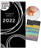 Calendario per famiglie 2022 | 23x43cm | 5 Colonne | 228 adesivi | BIANCO E NERO | Planner da parete, Planner da muro | Tutti i giorni festivi | Design stiloso in B&N, Decorazione, Arte, Design