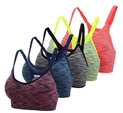ohlyah Women's Adjustable Padded Sports Bra Racerback Yoga Bras Pack (30A 30B 32A 32B, Blue Grey Green Purple Orange)