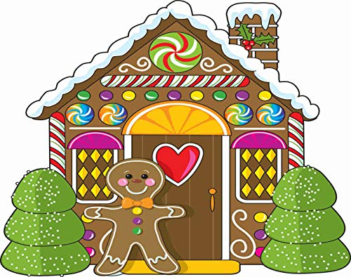 Ghjxda 5D DIY Colorful Diamond Painting Kits Cute Little Gingerbread House Man Doorway Candies Gumdrops Painting Arts Craft Canvas for Home Wall Decor Full Drill Cross Stitch 16x20 Inch
