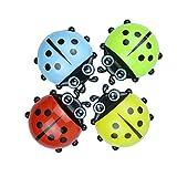 aolongwl Portacepillos de Dientes Ladybug Sucker Niños Kid Portacepillos De Dientes Ganchos De Succión Pasta De Dientes Bastidor De Almacenamiento Set De Baño De Pared / 4 Piezas