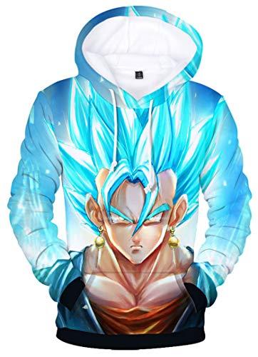 Silver Basic Sudadera con Capucha Goku Vegeta Sweater para Hombre, Diseño de Bolsillo Canguro 3D Dragon Ball Z DBZ L,002Pelo Azul Goku-1…