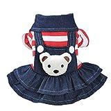 Patgoal Denim Dog Dress Striped Dog Bib Winter Autumn Cowboy Clothes for Pet Small Dog