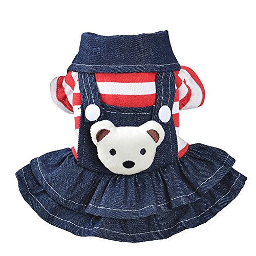 Patgoal Denim Dog Dress Striped Dog Bib