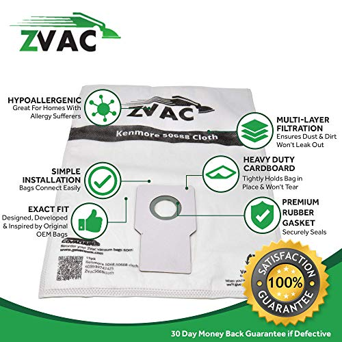 ZVac Replacement Kenmore Upright Style Vacuum Bags Compatible with Kenmore Models Using Kenmore 50690, 2050688, 50688 & Upright Bags - 15 Pack