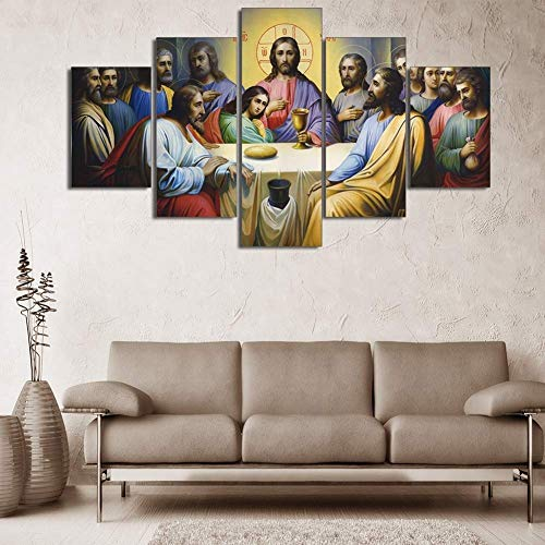 Artwork - 5 Pieces Canvas The Last Supper Family Party World Famous Picture Print on Canvas for Home Decor Ready to Hang,F,30x402+30x602+30x801