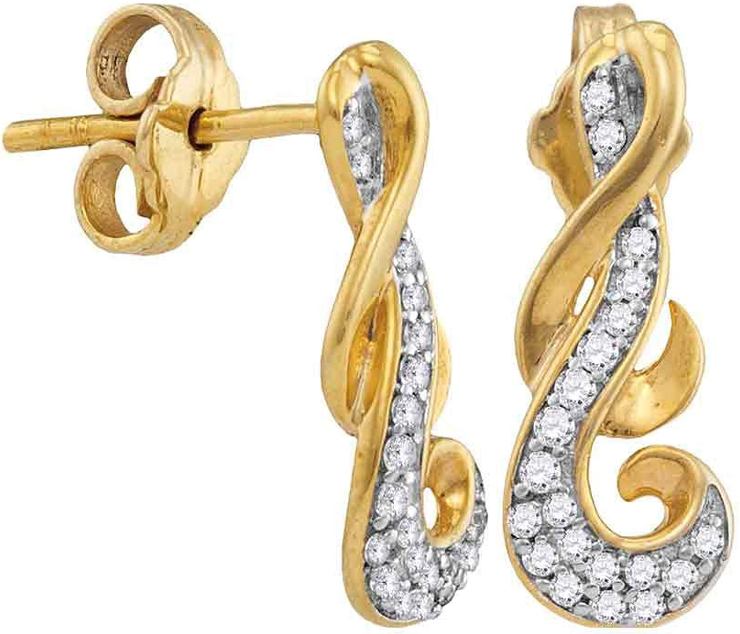 10kt Yellow gold Womens Round Diamond Cluster Curled Screwback Earrings 1 6 Cttw