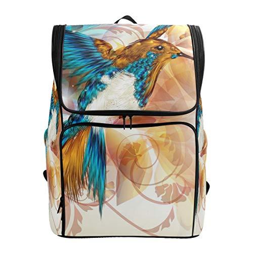Ahomy Schulrucksack, Kolibri-Blume, groß, wasserdicht, Tagesrucksack, Computer-Notebook, Rucksack für Arbeit und College