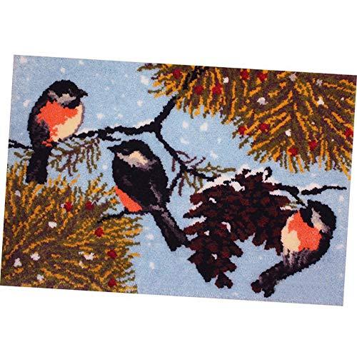43.3X29.5 Inch DIY Knüpfteppich Kits Unfinished Häkeln Tapestry Yarn Näharbeit Kissen Set Für Stickerei Teppich The Birds of Winter Mat