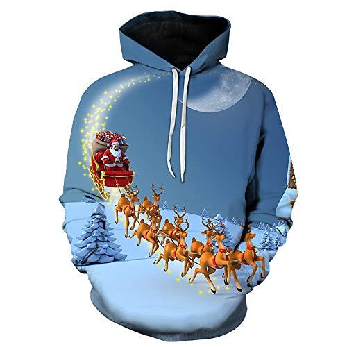SALEBLOUSE Hoodie Herren Kapuzenpullover 3D Druck Weihnachten Sweatshirt Pullover Langarm Tops Jumper Pulli Kapuzenpulli Christmas Pullover Weihnachtsmann Schneemann Hoodies Sweatershirt Sweater