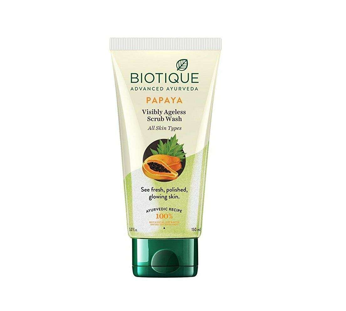 Biotique Bio Papaya Exfoliating Face Wash For All Skin Types, 150ml Glowing Skin すべての肌タイプ、白熱肌のためのBiotiqueバイオパパイヤ剥離洗顔料