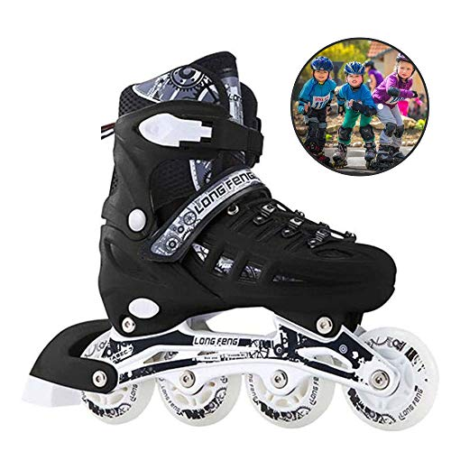 CLEBAO Children Adjustable Inline Skates Full Flash Adult Men and Women Inline Roller Skates Beginners Boys and Girls Kids Skating Shoes Pu Mesh Best Gift-Black_L(6.5-8.5)