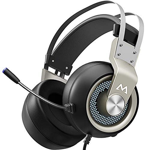 Mpow EG3 Pro - Over Ear Gaming Headset with 7.1 Surround Sound, Compatible with PC,PS4,Xbox One, LED Light, Noise Cancelling Mic & Soft Memory Earmuff